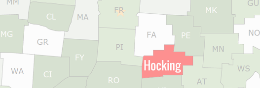 Hocking County Map
